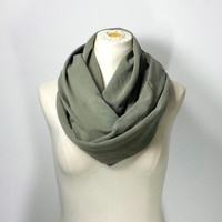 KHAKI GREEN Infinity Scarf - Military Green Eternity Scarf - Camouflage Green - Safari Circle Scarf