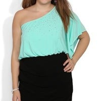 Plus Size One Shoulder Dress with Stone Front and Flutter Sleeve