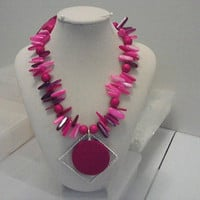 FUSCHIA Round in Diamond NECKLACE by jewelryandmorebyjb on Etsy