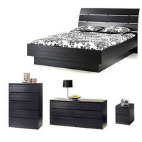 Walmart: Laguna 4-Piece Queen Bed, Night Stand, Dresser and Chest Set, Black Woodgrain