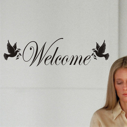 welcome sign with 2 doves wall decal vinyl wall art decals