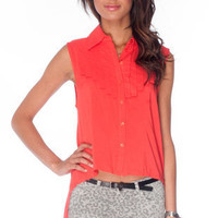 Jane Pleated Blouse in Red Orange :: tobi