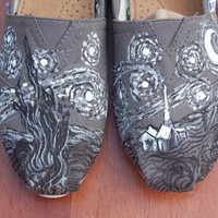 van Gogh Starry Night Custom Toms or Vans  by PurpleLizardStudio