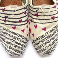 The Lovie  Black and Cream Custom TOMS by FruitfulFeet on Etsy