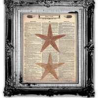 STAR FISH DICTIONARY Art Print Antique by FoxHunterStudios on Etsy