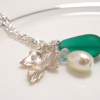 Teal Sea Glass Necklace with silver leaf &amp; Pearl by SeaglassGallery