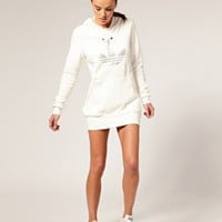 Adidas | Adidas Silver Trefoil Hoody Dress at ASOS