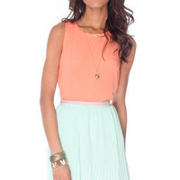 Crepe Button Down Tank Top in Light Coral :: tobi