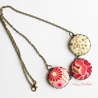 Japanese Fabric Necklace, Red Beige Necklace, Fiber Necklace, Button Cabochon Necklace, Fabric Necklace, Fabric bead necklace for woman