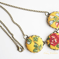 Yellow Necklace, French toile Necklace, Fiber Necklace, Button Cabochon Necklace, Fabric Necklace, Fabric bead necklace for woman
