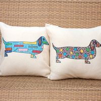 Dachshund throw pillow, set of two decorative pillows for kids, colorful dachshund pillows