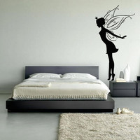 Wall decal decor decals art elf butterfly angel princess wings flight bedroom nursery (m1019)