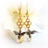 Citrine earrings, November birthstone, dangle honey bee earrings with recycled findings,