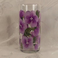 Hand Painted Vase or Candle Holder - Lilac | EverMyHart - Glass on ArtFire