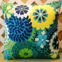 Luxury Floral Outdoor Pillow Cover Azure, Royal Blue, Lime, Teal   | JRsPillowsandBags - Housewares on ArtFire