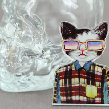 Hipster Cat Brooch : Four Eyed Tabby Cat with Oversized Glasses and Suspenders, Pin, Button, Fashion Accessory, Conversation Piece