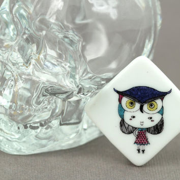 Brooch : Girl, Owl, Bohemian Feather Porcelain Pin, Button, Fashion Accessory, Cute, Fun, Artisan Tree