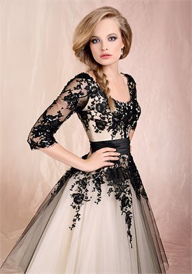 Ball Gown With Sleeves And Black Lace Floor-Length Cheap 2012 Agora Wedding Gowns BABG009 - Wholesale cheap discount price 2012 style online for sale.