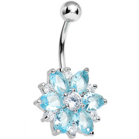 Aqua Gem Lotus Flower Belly Ring | Body Candy Body Jewelry