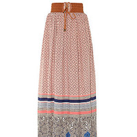 Brown Tile Print Border Belted Maxi Skirt