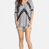 Free People 'Flying V' Lace Inset Pullover | Nordstrom