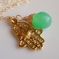 Hamsa Necklace with Chrysoprase Green and Gold by 443Jewelry