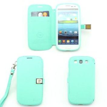 Ailun leather wallet credit card flip case cover for samsung galaxy s3 i9300 I747 L710 T999 i535, AT&T, T Mobile, Sprint, Verizon (mint green)
