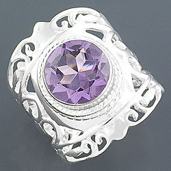 Sterling Silver Amethyst Ring (India) | Overstock.com