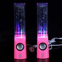 Plug and Play Muti-colored Illuminated Dancing Water Speakers (New Pink)