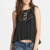 Free People 'Shellshock' Mesh Trim Button Back Top | Nordstrom