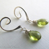 Natural Peridot Earrings - silver or gold August birthstone swirl post dangle jewelry Eco-friendly jewelry anniversary gift