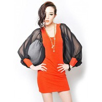 Orange White Chiffon Bat-wing Sleeve O-Neck Dress,FREE SHIPPING at www.reecn.com