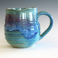 Coffee Mug with Uneven Rim, 18 oz, handmade ceramic cup, ceramic stoneware mug, coffee cup