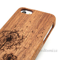 Laser engraving natural wooden cover, Flying Dandelion, iPhone 5C wood case, iPhone 5S 5 wood case, iPhone 4 4s wood case, FREE protector