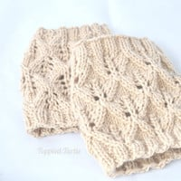 A Touch of Lace Hand Knit Boot Cuff - Oatmeal