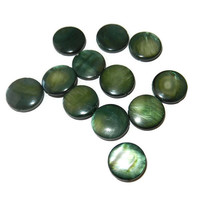 Green Mother of Pearl Flat Coin Beads