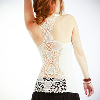 Crochet White racer back tank top very detailed by Shovava on Etsy