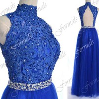 Royal Blue Lace Prom Dresses, Royal Blue Formal Gown, Straps with Open Back Lace and Tulle Royal Blue Long Prom Gown, Lace Formal Dresses