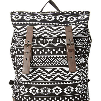 Buckled Tribal Print Backpack