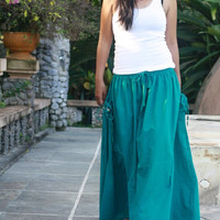 ON SALE Teal Maxi Skirt / Flowy long skirt with Pockets/ Fashion Skirt