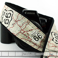 dSLR Camera Strap, Route 66, US 66, Map, SLR, Vintage map