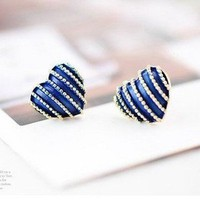 Fashion design Vintage Chic Blue Heart Stripe Stud Earrings free ship | eBay