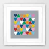 Up and Down Hearts on Grey Framed Art Print by Project M