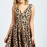 Gina Animal Print Deep V-Neck Skater Dress