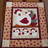 Easter Chick Wallhanging, Easter Egg Wallhanging. Cute Spring mini quilt