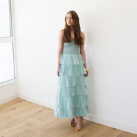 Mint Layers tulle maxi skirt ,Wedding Skirt , Ruffle skirt