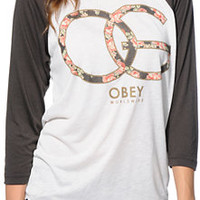Obey Emporium Natural & Charcoal Vintage Baseball Tee Shirt