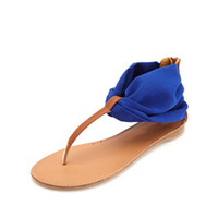 CHIFFON ANKLE CUFF THONG SANDALS