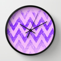 disappearing purple chevron Wall Clock by Marianna Tankelevich