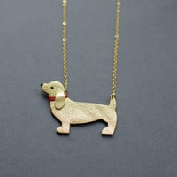 Handmade leather sausage dog necklace / N29